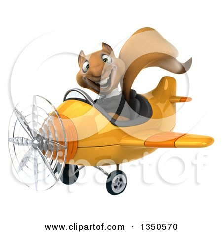 Clipart of a 3d Business Squirrel Aviator Pilot Flying a Yellow Airplane to the Left - Royalty Free Illustration by Julos