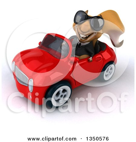 Clipart of a 3d Business Squirrel Wearing Sunglasses and Driving a Red Convertible Car to the Left - Royalty Free Illustration by Julos