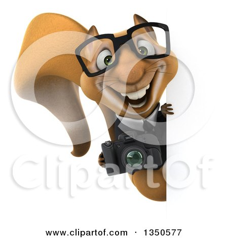 Clipart of a 3d Bespectacled Business Squirrel Holding a Camera Around a Sign - Royalty Free Illustration by Julos