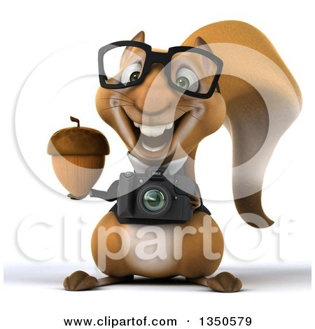 Clipart of a 3d Bespectacled Business Squirrel Holding a Camera and Acorn - Royalty Free Illustration by Julos