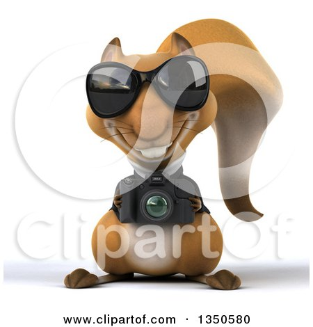 Clipart of a 3d Business Squirrel Wearing Sunglasses and Holding a Camera - Royalty Free Illustration by Julos