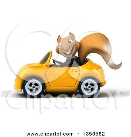 Clipart of a 3d Business Squirrel Driving a Yellow Convertible Car to the Left - Royalty Free Illustration by Julos