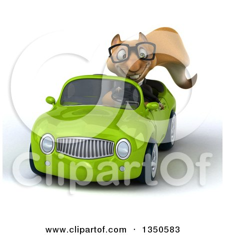 Clipart of a 3d Bespectacled Business Squirrel Driving a Green Convertible Car - Royalty Free Illustration by Julos
