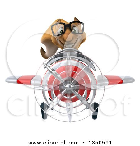 Clipart of a 3d Bespectacled Business Squirrel Aviator Pilot Flying a White and Red Airplane - Royalty Free Illustration by Julos