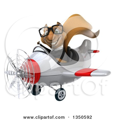 Clipart of a 3d Bespectacled Business Squirrel Aviator Pilot Giving a Thumb up and Flying a White and Red Airplane to the Left - Royalty Free Illustration by Julos