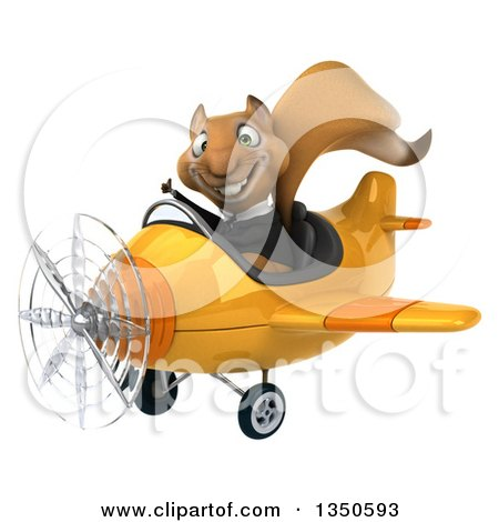 Clipart of a 3d Business Squirrel Aviator Pilot Giving a Thumb up and Flying a Yellow Airplane to the Left - Royalty Free Illustration by Julos