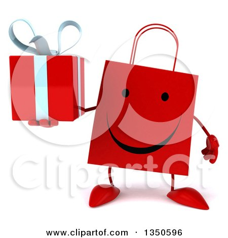 Clipart of a 3d Happy Red Shopping or Gift Bag Character Holding a Gift - Royalty Free Illustration by Julos