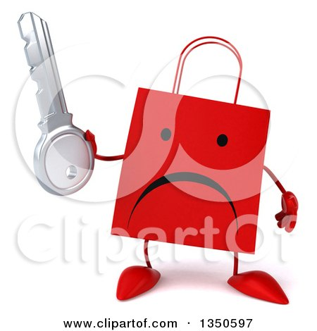 Clipart of a 3d Unhappy Red Shopping or Gift Bag Character Holding a Key - Royalty Free Illustration by Julos