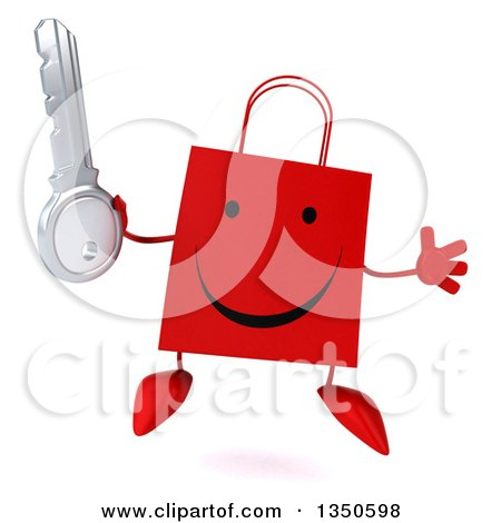Clipart of a 3d Happy Red Shopping or Gift Bag Character Holding a Key and Jumping - Royalty Free Illustration by Julos
