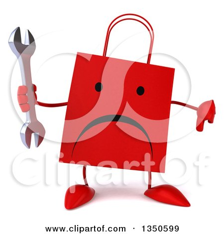 Clipart of a 3d Unhappy Red Shopping or Gift Bag Character Holding a Wrench and Thumb down - Royalty Free Illustration by Julos