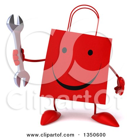 Clipart of a 3d Happy Red Shopping or Gift Bag Character Holding a Wrench - Royalty Free Illustration by Julos