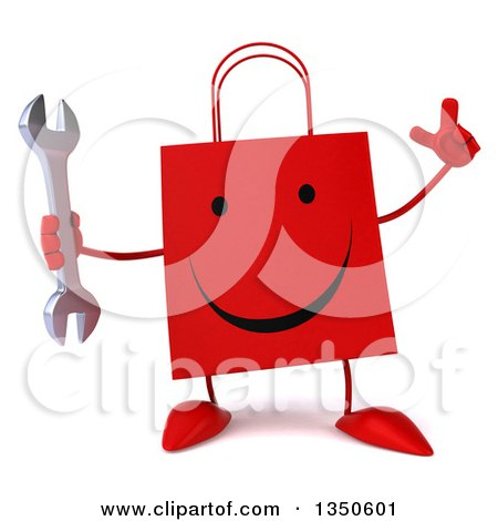 Clipart of a 3d Happy Red Shopping or Gift Bag Character Holding up a Finger and a Wrench - Royalty Free Illustration by Julos