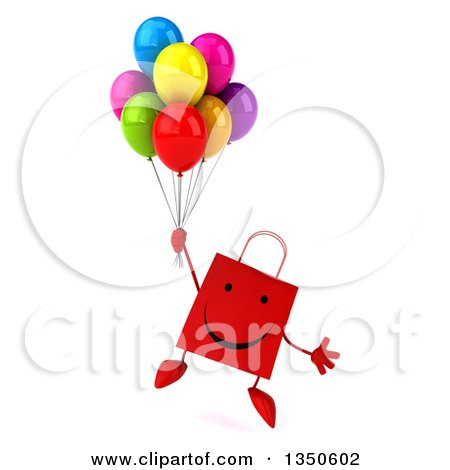 Clipart of a 3d Happy Red Shopping or Gift Bag Character Holding Party Balloons and Floating - Royalty Free Illustration by Julos
