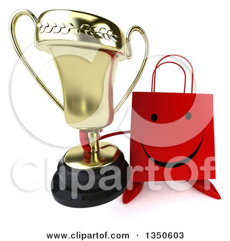 Clipart of a 3d Happy Red Shopping or Gift Bag Character Holding up a Trophy - Royalty Free Illustration by Julos