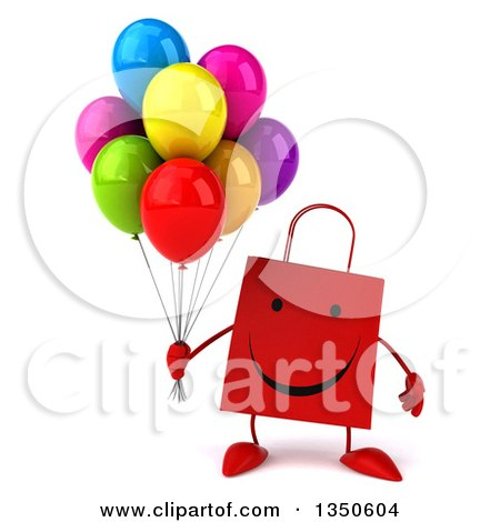 Clipart of a 3d Happy Red Shopping or Gift Bag Character Holding Party Balloons - Royalty Free Illustration by Julos