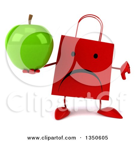 Clipart of a 3d Unhappy Red Shopping or Gift Bag Character Giving a Thumb down and Holding a Green Apple - Royalty Free Illustration by Julos