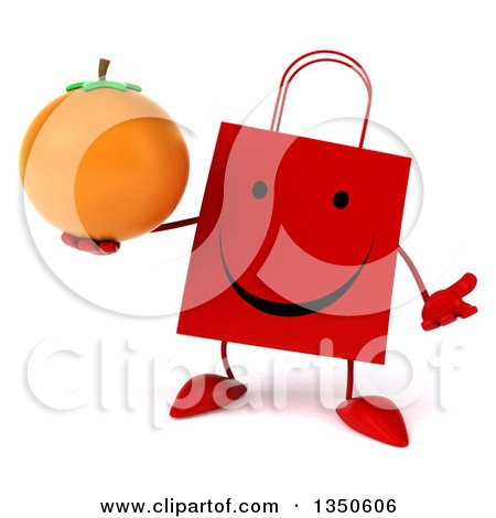 Clipart of a 3d Happy Red Shopping or Gift Bag Character Holding a Navel Orange and Shrugging - Royalty Free Illustration by Julos