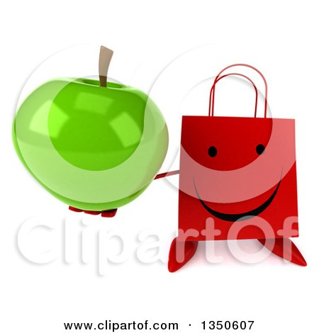 Clipart of a 3d Happy Red Shopping or Gift Bag Character Holding up a Green Apple - Royalty Free Illustration by Julos