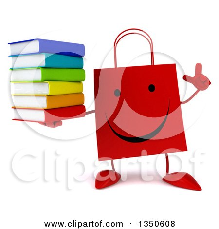 Clipart of a 3d Happy Red Shopping or Gift Bag Character Holding up a Finger and a Stack of Books - Royalty Free Illustration by Julos