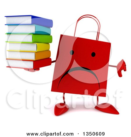 Clipart of a 3d Unappy Red Shopping or Gift Bag Character Holding a Stack of Books and Giving a Thumb down - Royalty Free Illustration by Julos