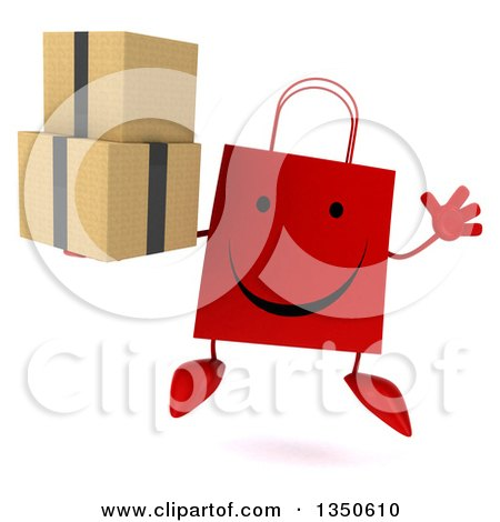 Clipart of a 3d Happy Red Shopping or Gift Bag Character Holding Boxes and Jumping - Royalty Free Illustration by Julos
