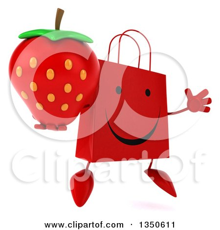 Clipart of a 3d Happy Red Shopping or Gift Bag Character Holding a Strawberry and Jumping - Royalty Free Illustration by Julos