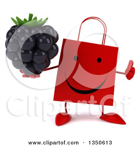 Clipart of a 3d Happy Red Shopping or Gift Bag Character Holding a Blackberry and Giving a Thumb up - Royalty Free Illustration by Julos
