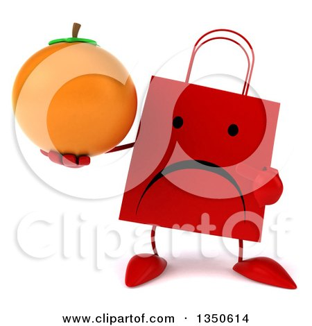 Clipart of a 3d Unhappy Red Shopping or Gift Bag Character Holding and Pointing to a Navel Orange - Royalty Free Illustration by Julos