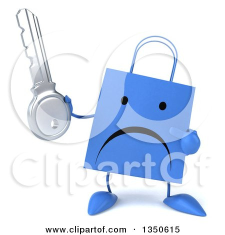 Clipart of a 3d Unhappy Blue Shopping or Gift Bag Character Holding and Pointing to a Key - Royalty Free Illustration by Julos