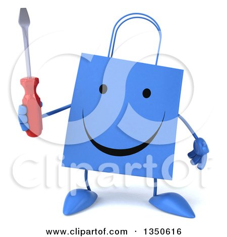 Clipart of a 3d Happy Blue Shopping or Gift Bag Character Holding a Screwdriver - Royalty Free Illustration by Julos