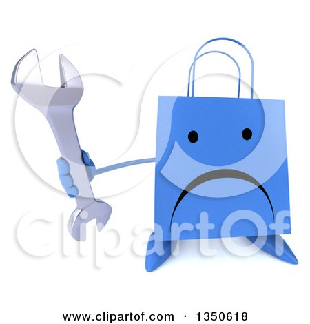 Clipart of a 3d Unhappy Blue Shopping or Gift Bag Character Holding up a Wrench - Royalty Free Illustration by Julos
