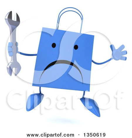 Clipart of a 3d Unhappy Blue Shopping or Gift Bag Character Holding a Wrench and Jumping - Royalty Free Illustration by Julos