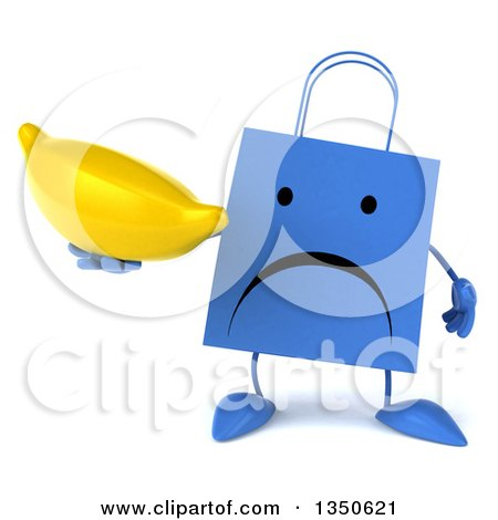 Clipart of a 3d Unhappy Blue Shopping or Gift Bag Character Holding a Banana - Royalty Free Illustration by Julos
