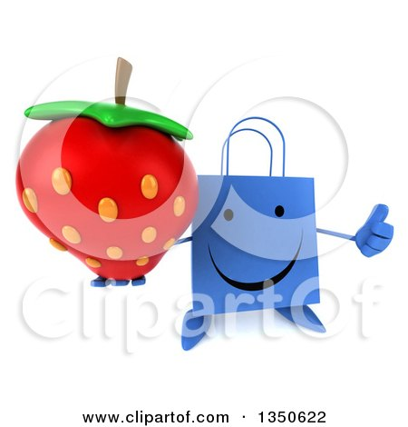 Clipart of a 3d Happy Blue Shopping or Gift Bag Character Holding up a Thumb and a Strawberry - Royalty Free Illustration by Julos