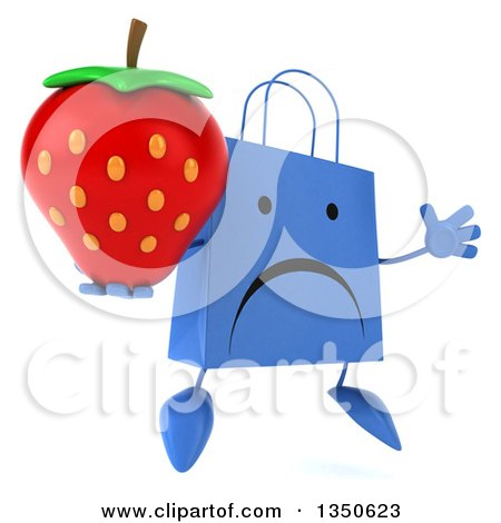 Clipart of a 3d Unhappy Blue Shopping or Gift Bag Character Holding a Strawberry and Jumping - Royalty Free Illustration by Julos