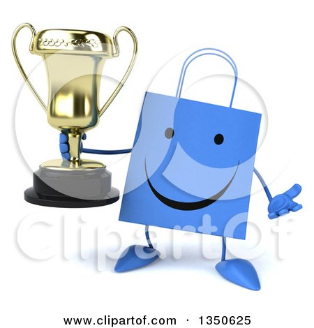 Clipart of a 3d Happy Blue Shopping or Gift Bag Character Holding a Trophy and Shrugging - Royalty Free Illustration by Julos