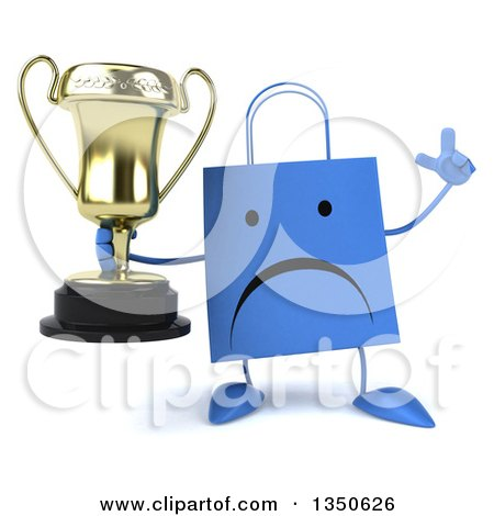 Clipart of a 3d Unhappy Blue Shopping or Gift Bag Character Holding up a Finger and a Trophy - Royalty Free Illustration by Julos