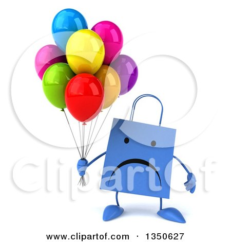 Clipart of a 3d Unhappy Blue Shopping or Gift Bag Character Holding Party Balloons - Royalty Free Illustration by Julos