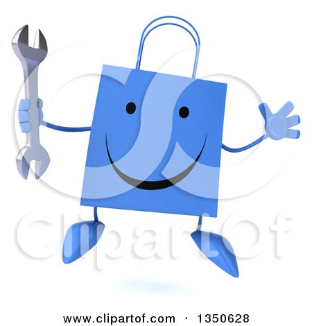 Clipart of a 3d Happy Blue Shopping or Gift Bag Character Holding a Wrench and Jumping - Royalty Free Illustration by Julos