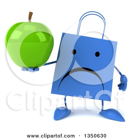 Clipart of a 3d Unhappy Blue Shopping or Gift Bag Character Holding a Green Apple - Royalty Free Illustration by Julos