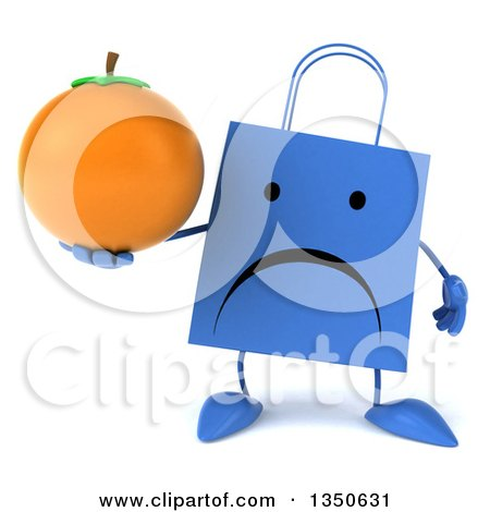 Clipart of a 3d Unhappy Blue Shopping or Gift Bag Character Holding a Navel Orange - Royalty Free Illustration by Julos