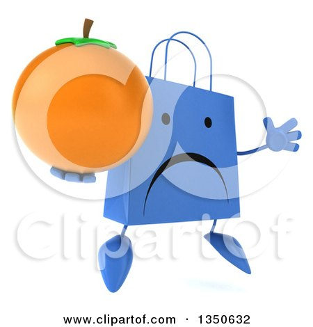 Clipart of a 3d Unhappy Blue Shopping or Gift Bag Character Holding a Navel Orange and Jumping - Royalty Free Illustration by Julos