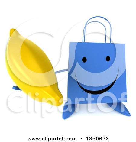 Clipart of a 3d Happy Blue Shopping or Gift Bag Character Holding up a Banana - Royalty Free Illustration by Julos