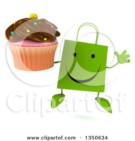 Clipart of a 3d Happy Green Shopping or Gift Bag Character Jumping and Holding a Chocolate Frosted Cupcake - Royalty Free Illustration by Julos