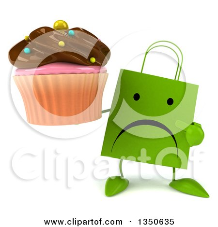Clipart of a 3d Unhappy Green Shopping or Gift Bag Character Holding and Pointing to a Chocolate Frosted Cupcake - Royalty Free Illustration by Julos