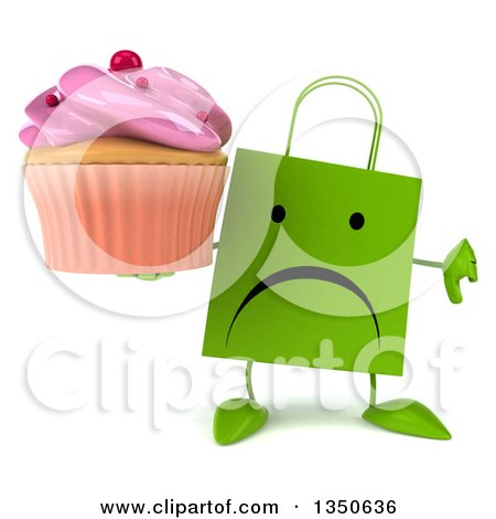 Clipart of a 3d Unhappy Green Shopping or Gift Bag Character Giving a Thumb down and Holding a Pink Frosted Cupcake - Royalty Free Illustration by Julos