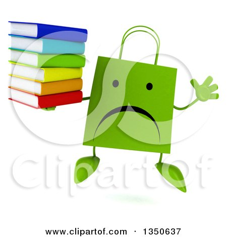 Clipart of a 3d Unhappy Green Shopping or Gift Bag Character Holding a Stack of Books and Jumping - Royalty Free Illustration by Julos