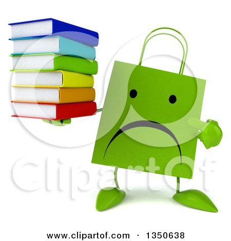Clipart of a 3d Unhappy Green Shopping or Gift Bag Character Holding and Pointing to a Stack of Books - Royalty Free Illustration by Julos