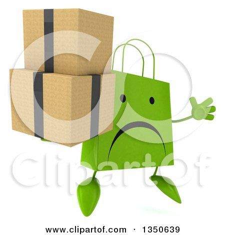 Clipart of a 3d Unhappy Green Shopping or Gift Bag Character Holding Boxes and Jumping - Royalty Free Illustration by Julos