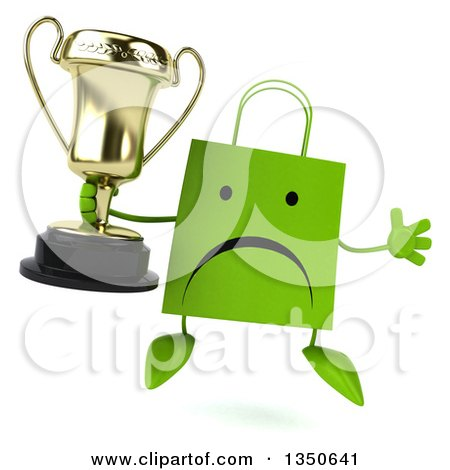 Clipart of a 3d Unhappy Green Shopping or Gift Bag Character Holding a Trophy and Jumping - Royalty Free Illustration by Julos